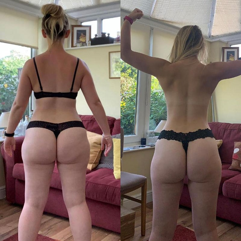 Side by side, before and after image of a client's transformation